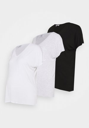 MATERNITY KARLY SHORT SLEEVE 3 PACK - Basic T-shirt - black/white/silver marle