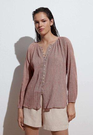 Button-down blouse - light brown