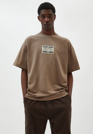 Print T-shirt - mottled brown