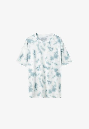 MIT GRÜNEM TIE-DYE - T-Shirt print - white
