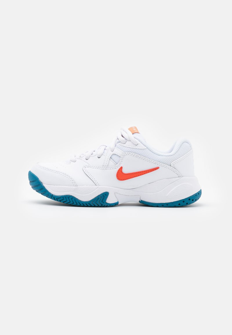 Nike Performance - COURT Jr.  LITE 2 UNISEX - Multicourt tennis shoes - white/team orange/green abyss/praline
