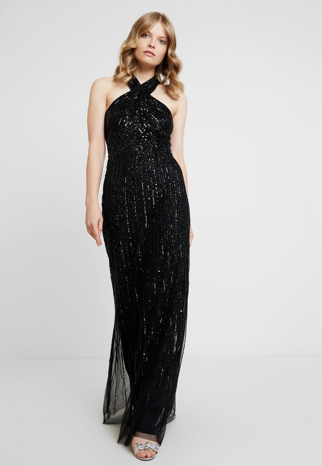 HALTER BEADED GOWN - Galajurk - black