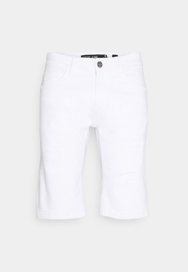 KADEN HOLES - Denim shorts - offwhite