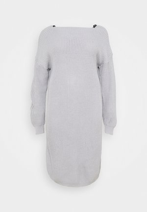 LACE TRIM JUMPER DRESS - Strikket kjole - light grey