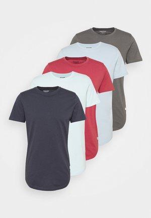 JJENOA TEE CREW NECK 5 PACK - T-shirt basic - dark blue/light blue/grey/red/turquoise