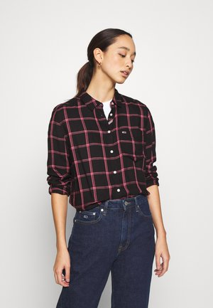 FLUID CHECK - Button-down blouse - black/glamour pink