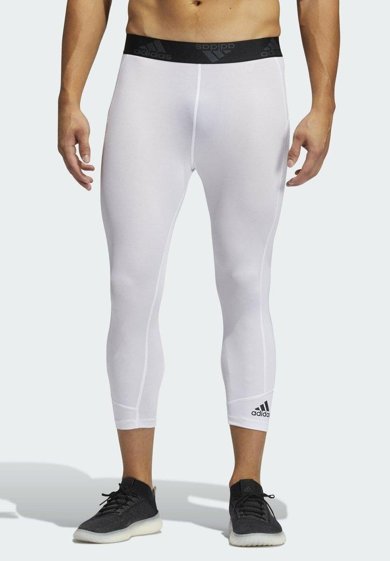 adidas Performance - PRIMEGREEN TECHFIT WORKOUT COMPRESSION CAPRI 3/4 LEGGINGS - 3/4 sports trousers - white