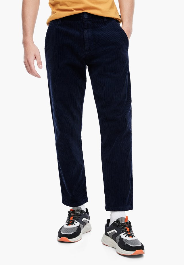 MIT CORD-STRUKTUR - Trousers - navy