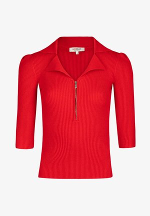 3/4-LENGTH SLEEVED ZIPPED JUMPER - Jumper - red