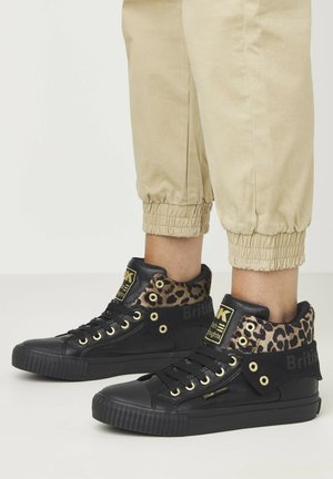SNEAKER ROCO - High-top trainers - black/rust leopard/gold/black