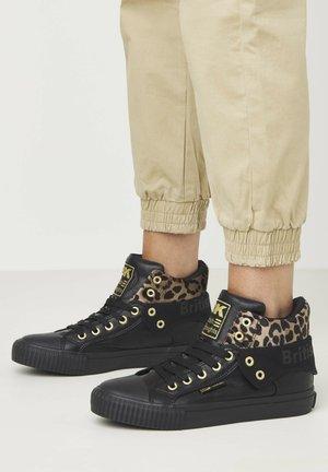 SNEAKER ROCO - Höga sneakers - black/rust leopard/gold/black