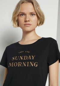 TOM TAILOR DENIM - BASIC EMBRO TEE - Print T-shirt - deep black - 3