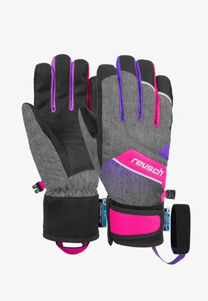FERDI - Gloves - black melange / pink glo
