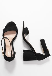 Miss Selfridge Wide Fit - WIDE FIT BLOCK HEEL BARELY THERE - Sandals - black - 3