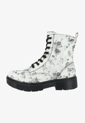 Lace-up ankle boots - white-black