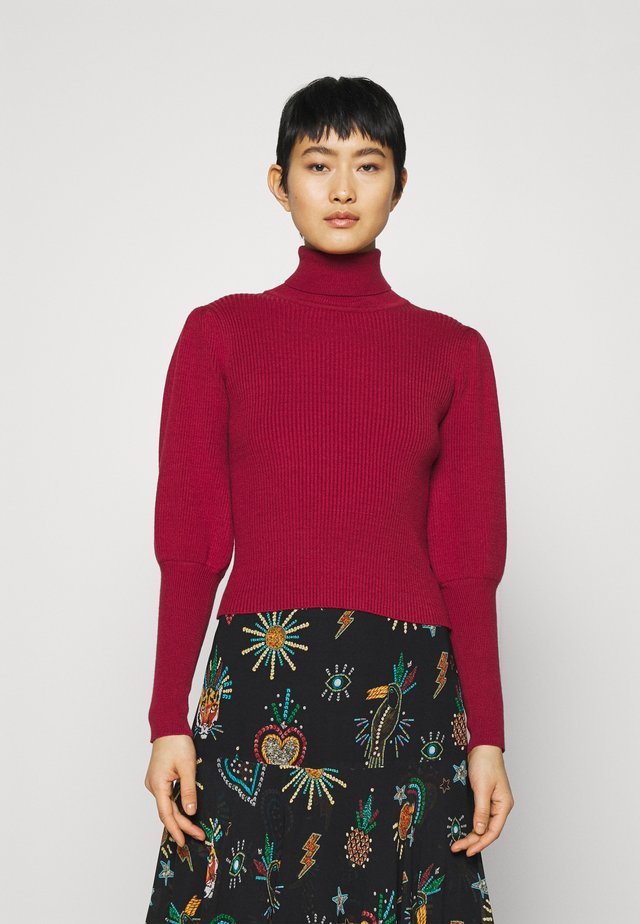 PUFF SLEEVE TURTLENECK - Trui - burgundy