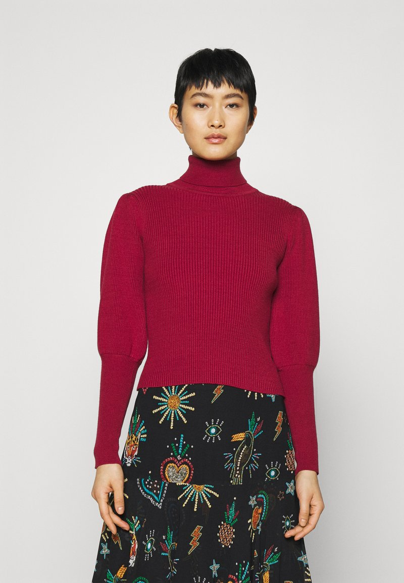Farm Rio - PUFF SLEEVE TURTLENECK - Jumper - burgundy