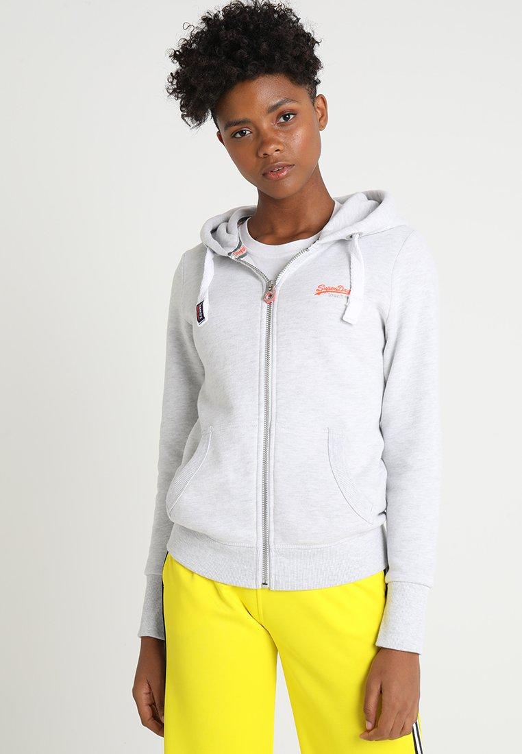 Superdry - LABEL ZIPHOOD - Zip-up sweatshirt - ice marl