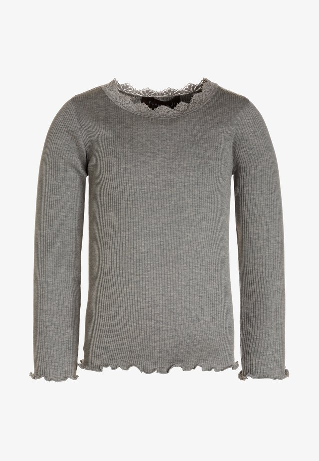 SILK-MIX T-SHIRT REGULAR LS W/LACE - T-shirt à manches longues - light grey melange