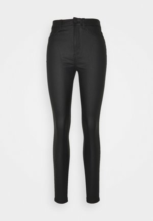 NMCALLIE SKINNY COATED PANTS - Jeans Skinny Fit - black