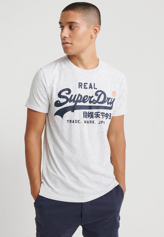 Superdry - TEE - T-shirt print - light grey