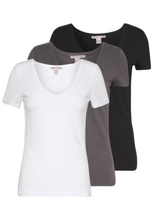 3ER PACK - T-shirts - black, white