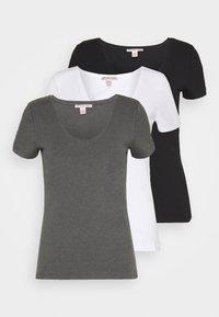 Anna Field - 3 PACK - Jednoduché triko - black, white - 0