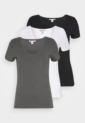 3 PACK - Basic T-shirt - black, white