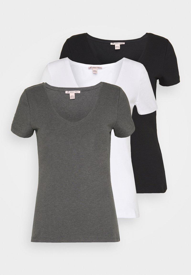 Anna Field - 3 PACK - Jednoduché triko - black, white
