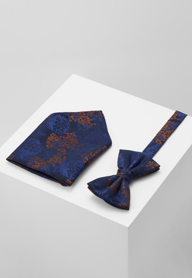 Burton Menswear London - CHINA BOW TIE AND MATCHING POCKET SQUARE SET - Pocket square - navy