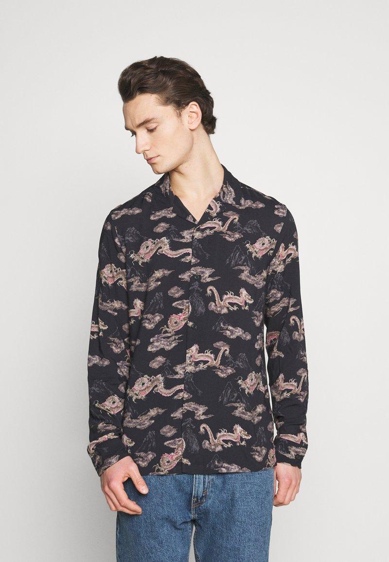 AllSaints - HONGSHAN - Shirt - jet black/grey