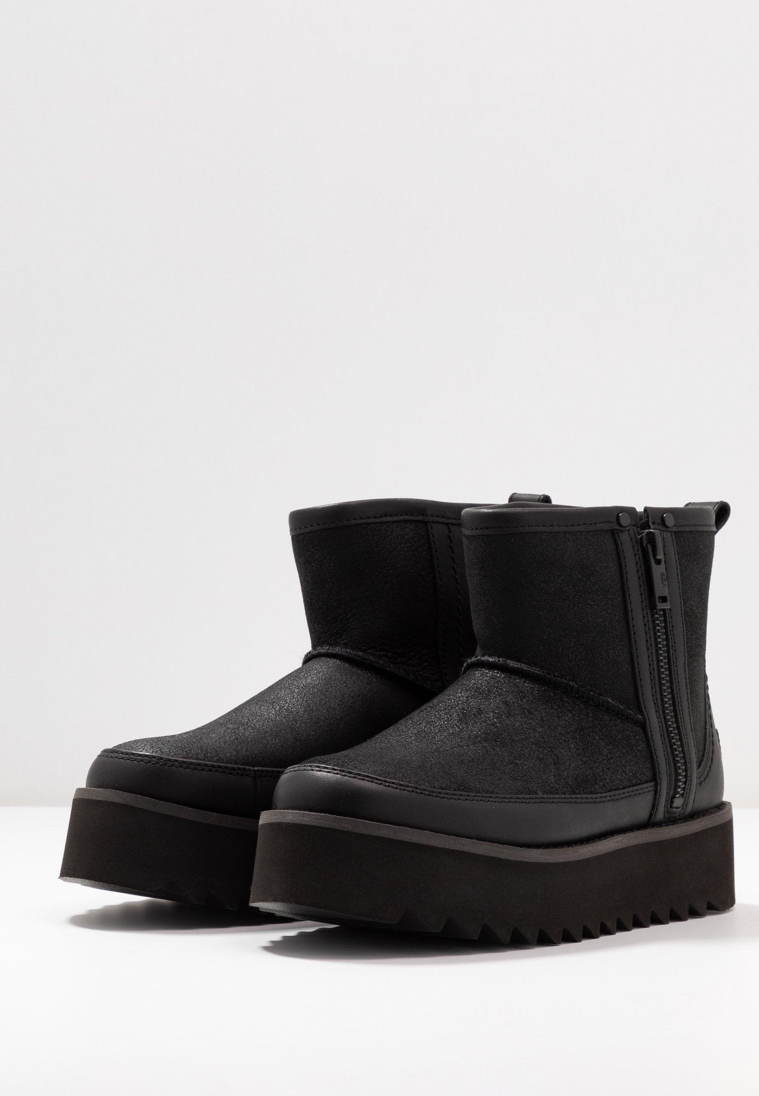 UGG CLASSIC REBEL BIKER MINI - Platform-nilkkurit - black - Naisten kengät xmDC1
