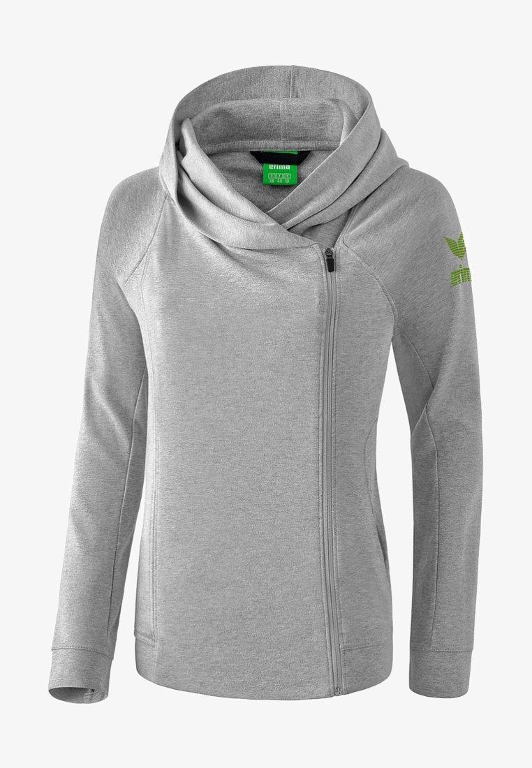 Erima - ESSENTIAL HOODY JACKET - Zip-up hoodie - hellgrau / lime
