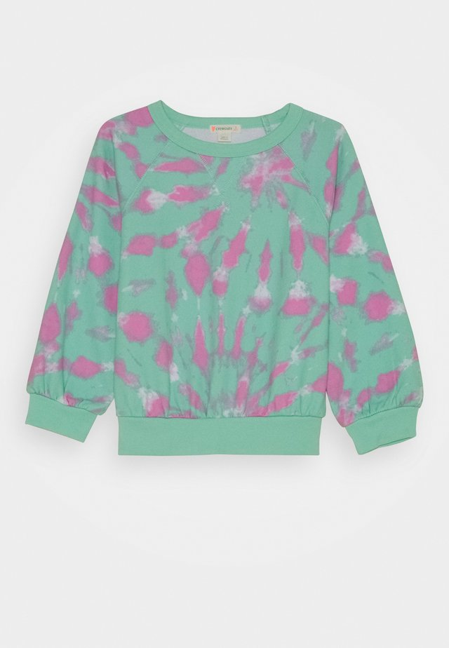 BEACH CREWNECK TIE DYE - Sweater - aqua/white/pink