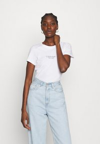 Calvin Klein - SLIM FIT 2 PACK - T-shirt z nadrukiem - black/bright white - 1