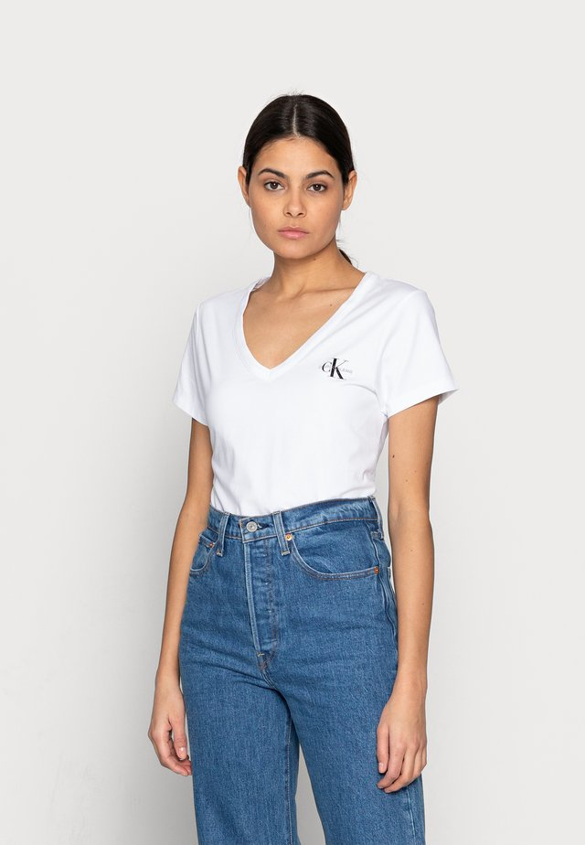 MONOGRAM SLIM V-NECK TEE - T-shirt basic - white