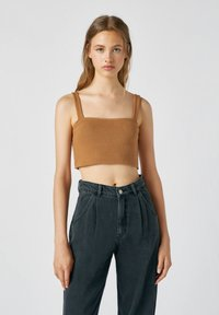 PULL&BEAR - Top - mottled dark brown - 0
