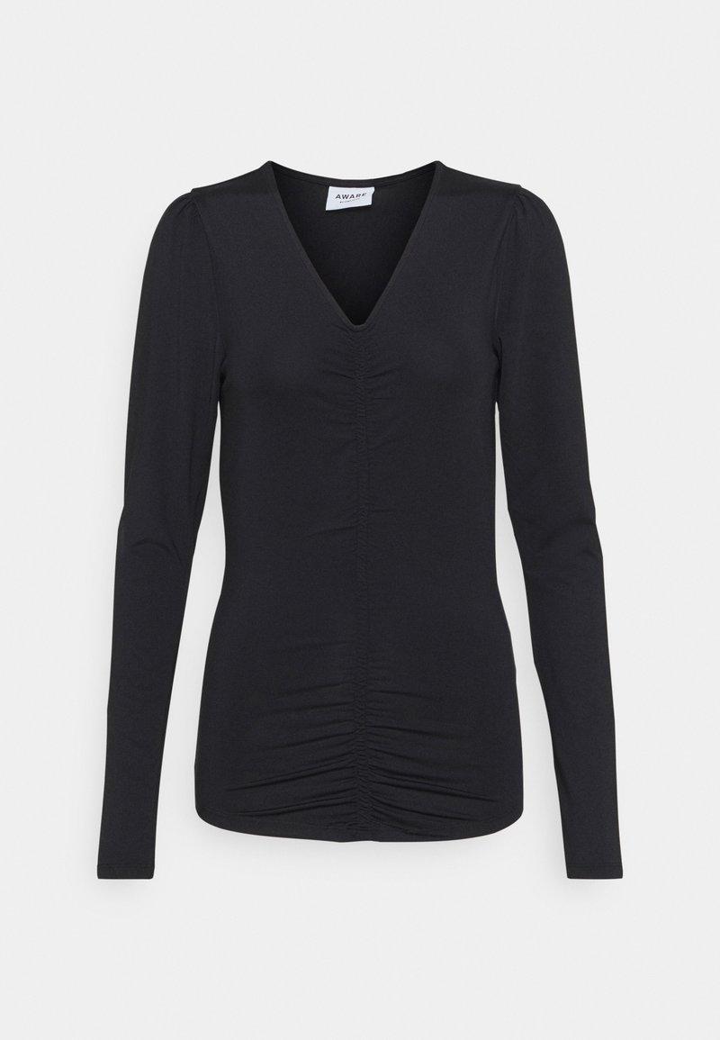 Vero Moda Tall - VMNEXT 3/4  V NECK - Long sleeved top - black