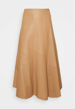 SKIRT MIDI - Leather skirt - camel