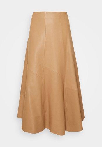 SKIRT MIDI - Leather skirt - camel
