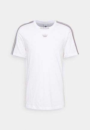 3 STRIPE TEE - T-shirt med print - white/grey