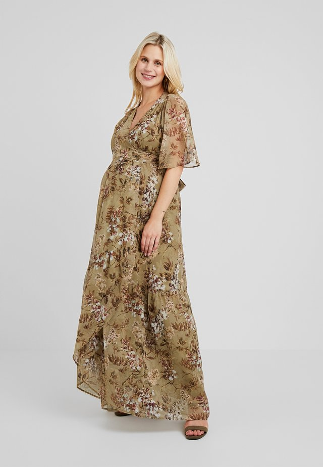 FLUTTER SLEEVE WRAP DRESS - Maxi dress - green