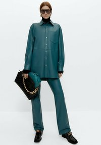 Uterqüe - Leather jacket - green - 1