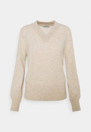 V NECK BALLOON SLEEVE - Jumper - oatmeal