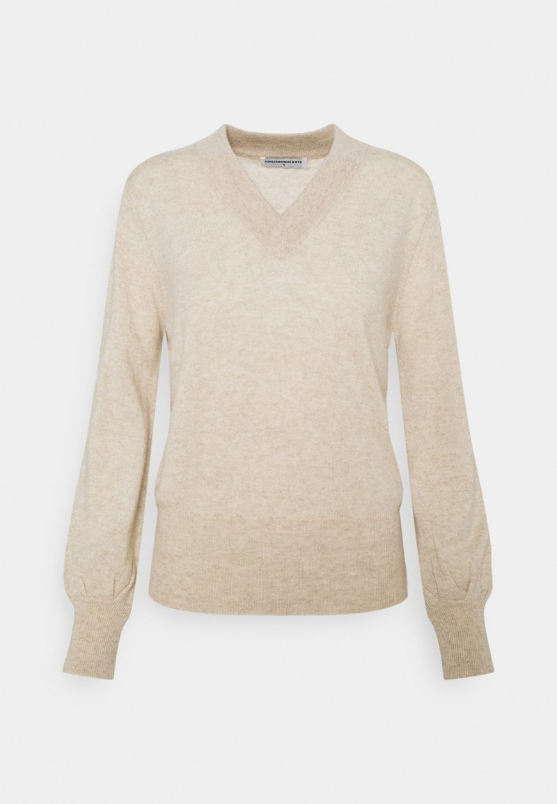 pure cashmere - V NECK BALLOON SLEEVE - Svetr - oatmeal