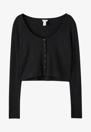 Strikjakke /Cardigans - mottled black