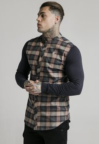 SIKSILK - LONG SLEEVE CHECK GRANDAD - Shirt - navy/tan - 3