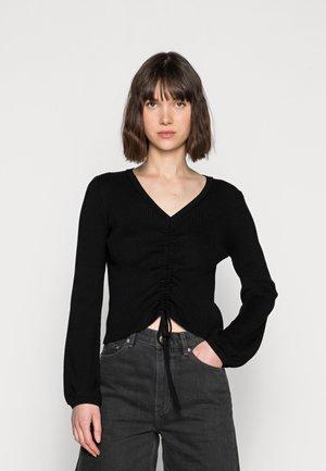 V NECK SWEATER - Pullover - black