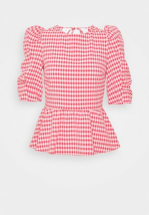 GINGHAM LACEUP PUFF SLEEVE - Blouse - red