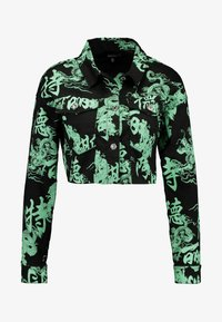 Missguided - DRAGON PRINT STRETCH CROPPED JACKET - Jeansjacka - neon green - 3